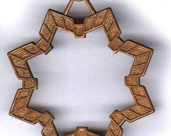 vintage brass pendant finding HUGE STAR to dangle open star all brass antique brass star