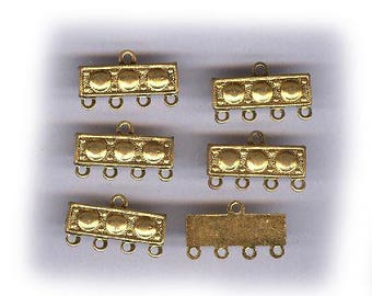 SIX vintage BRASS CONNECTORS russian gold plate fancy antique brass connectors ox vintage brass findings