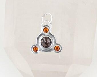 Super Seven Pendant Citrine Jewelry Multi Stone Crop Circle Artisan Jewelry Sterling Silver