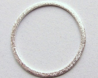 SHOP SALE 50mm 2 inch Flat Circle Shaped Bali Sterling Silver Brushed Line Texture Loop Round Connector Eternity Rings Links (2 beads)
