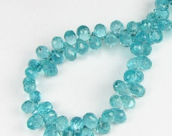 SHOP SALE Gorgeous Bright Teal Micro Faceted Apatite Teardrop Briolettes 8mm - 9mm (4 beads)