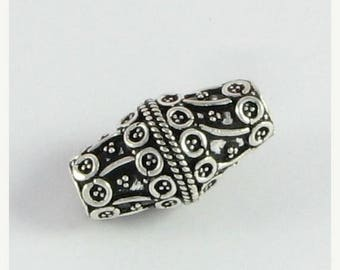 SHOP SALE Large Hole Bead Bali Sterling Silver Bicone Focal Bead 24mm with Large 4.5mm Hole (1 bead)