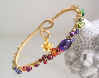 Multi Gemstone Bracelet, Gold Filled Wire Wrapped Stackable Bangle with Flower Charm, Amethyst, Sapphire, Tanzanite, Artisan Made