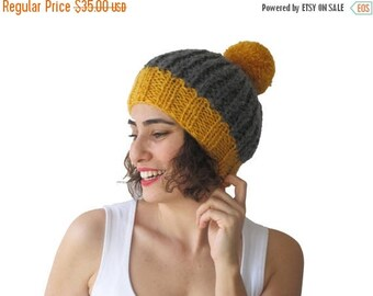 20% WINTER SALE NEW! Dark Gray - Yellow Hat with Pon Pon by Afra