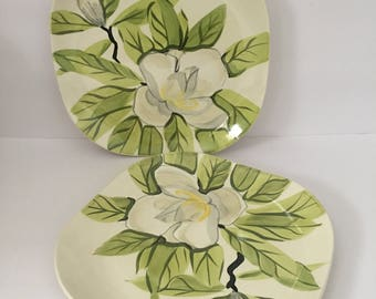 RedWing Magnolia Dinner Plates Set of Two Handpainted Square Plates