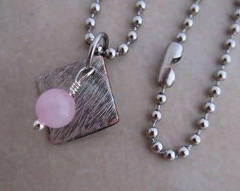 rose quartz necklace pink silver soldered copper girls women
