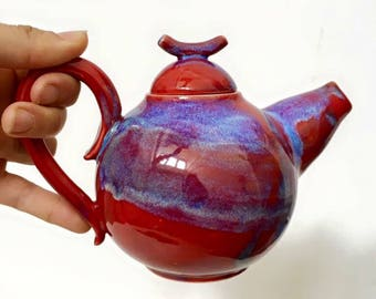 Wheel Thrown Red Blue Teapot - MADE TO ORDER