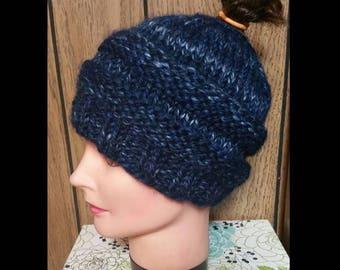 Variegated Blue Messy Bun hat