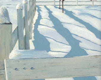 Snow Shadows 12x24 inch original painting by Kimberly Dow