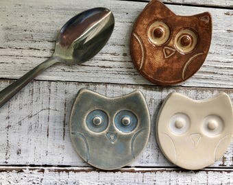 made to Order Owl Trinket dish - Tea Bag rest - Coffee Spoon rest - Jewelry Dish- ring holder- wedding favors- shower- votive holder- rings