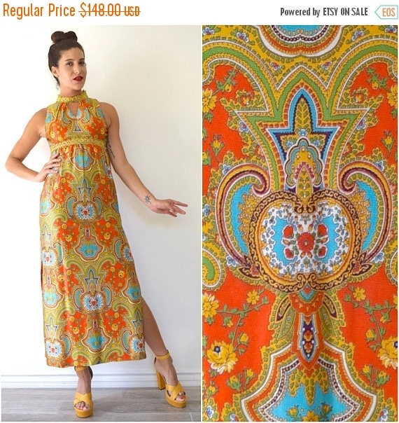 SUMMER SALE / 20% off Vintage 60s 70s Turkish Delight Psychedelic Floral and Paisley Print Rhinestone Studded Empire Waist Maxi Dress (size