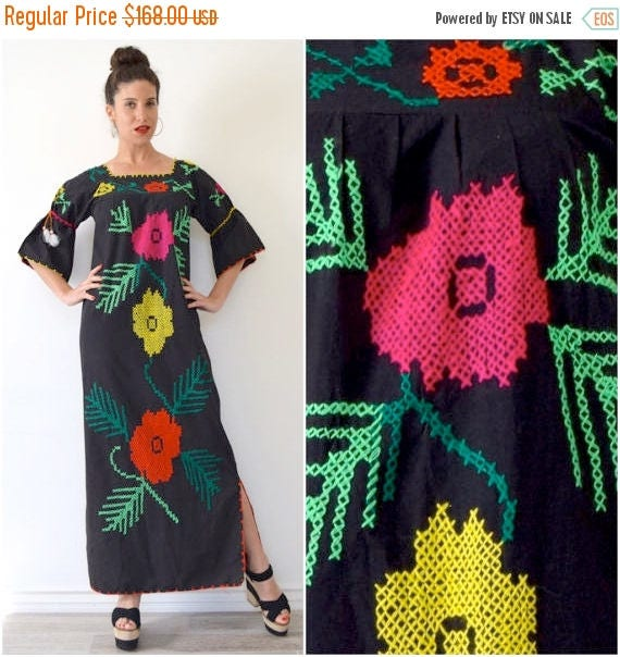 SUMMER SALE/ 30% off Vintage 60s 70s Mexican Embroidered Maxi Dress