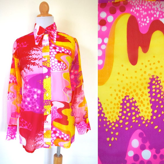 Vintage 60s 70s Psychedelic Semi Sheer Abstract Polka Dot Button Down Long Sleeved Blouse (size small, medium)