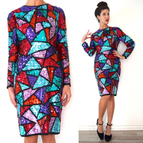 Vintage 80s 90s Tessellated Triangles Heavily Beaded and Sequined Hourglass Silhouette Long Sleeved Wiggle Dress (size medium)