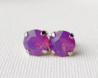 SALE Cyclamen opal rhinestone stud earrings / purple opal / Mothers day / gift for her / 8mm / Swarovski crystal / girlfriend gift / unique