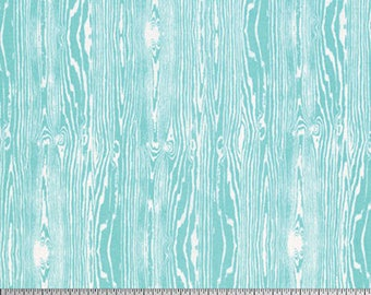 BY THE YARD - Joel Dewberry Fabric, True Colors Collection, Woodgrain in Aqua, cotton quilting fabric