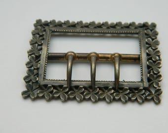 Antique Metal Belt Buckle - Trefoils border - Clover - Trefoil  - Shamrock