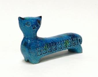 Vintage Bitossi Rimini Blue Cat Figurine, Aldo Londi, Rosenthal Netter, Italian Ceramics, Mid Century Modern Home Decor
