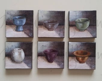 "Six (6) Original Fine Art Painting Set - Acrylic on Canvas - Six 3"" x 3"" - Grouping of Primitive Still Life Artwork"