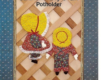 Vintage Potholder Pattern, 12 Inch Tall, Sunbonnet Boy and Girl, Country Patterns, Vintage Craft Pattern, Sewing Supplies, Country Cottage