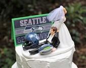 Seattle Seahawks Wedding Cake Topper-Football Cake Topper-Seahawks Fans, Bride and Groom, Funny, Helmet, Bride Draggin Groom, Groom's Cake