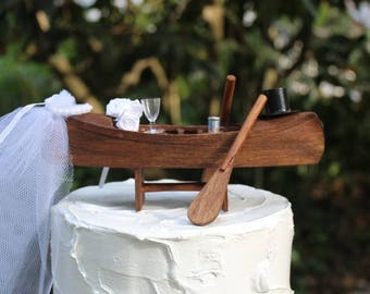 Boat Wedding Cake Topper with Oars, Kayak-Bride and Groom-Sportman-Grooms Cake Topper-Rustic His and Hers Cake Topper