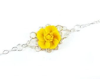 Buttercup Clasp Bracelet - Buttercup Jewelry, Buttercup Filigree Bracelet, Yellow Buttercup