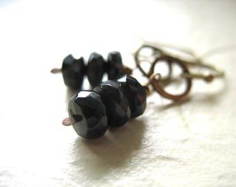 Tourmaline Earrings, Black Tourmaline Brass Hoop Gemstone Dangle Drop Earrings, Tourmaline Jewelry, Black Tourmaline, Hoop Earrings