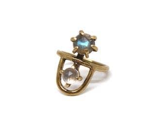 Arche Ring // Labradorite & Rose Quartz