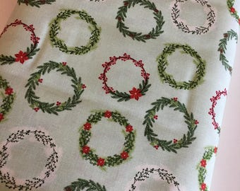 Christmas Fabric by the Yard, FabricShoppe, Comfort and Joy by Riley Blake, Christmas Quilt fabric, Wreaths in Green