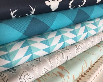 Hello Bear, Navy Deer fabric, Boy Nursery, Baby Quilt, Art Gallery, Fabric Bundle of 6- Choose the Cut, Free Shipping Available