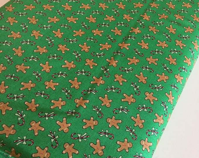 Christmas fabric, Quilting fabric, Christmas or Winter Craft, Sugar Plum Christmas Gingerbread Men in Green  - Choose the cut