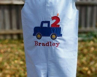 Blue truck birthday outfit, truck jon jon, birthday romper