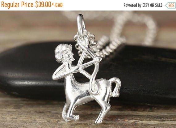 MATERNITY LEAVE SALE Sagittarius zodiac charm in sterling silver - zodiac necklace - zodiac jewelry - zodiac pendant