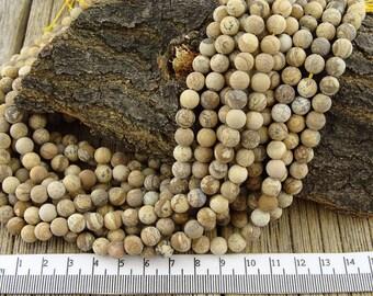 6mm Picture Jasper Beads, Matte Picture Jasper Beads, Frosted Picture Jasper, 6mm Round Beads, Brown Beads, Gemstone, Landscape Beads, 6 mm