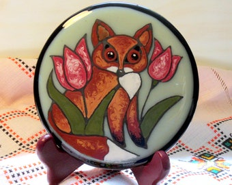 Hand painted fox with tulips fused glass decorative round panel with display stand