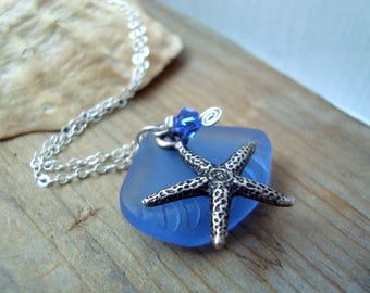 Silver Starfish and Blue Sea Glass Necklace With Crystal Silver Jewelry Beachy Summer Jewelry Gemstone Bridesmaid Necklace
