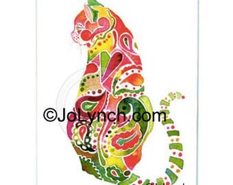 PAISLEY KITTY - Pink Paisley Cat Print - Cat Art Collectible prints - Jo Lynch
