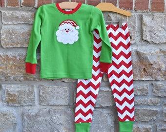 Santa Claus Christmas Chevron Pajamas - Christmas Personalized  Pajamas - Christmas pj - Monogram Christmas pajamas - JULIANNE ORIGINALS
