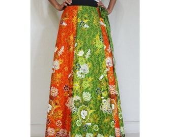 Handmade 8 Pieces floral Thai batik Sarong patchwork long comfortable  wear wrap skirt fit all size (BT 03)