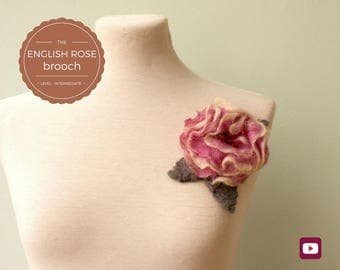 DIY - Video tutorial - The English Rose Brooch - Intermediate level - 10 videos - Instant download