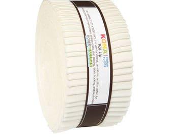 "Robert Kaufman Kona Cotton Solids SNOW Roll Up 2.5"" Precut Fabric Quilting Cotton Strips Jelly Roll RU-189-40"