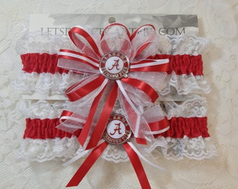 Red White Wedding Garter Set accented with University of Alabama Logo Pins