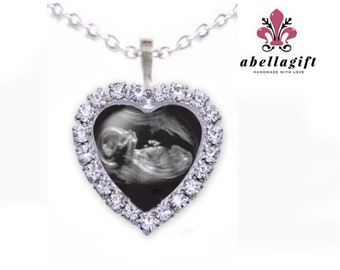 Heart Baby Sonogram Necklace, Crystal Sonogram necklace, Ultrasound Necklace, Pregnancy Gift , New Baby Necklace, birth announcement