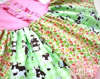Cow Cowgirl dress Farm barnyard birthday party dress girls toddler custom Momi boutique