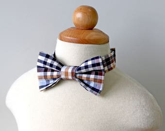 Sporty Plaid Cotton Bow Tie, Baby, Toddler, Boy, Kids, Fall, Summer, Ring Bearer