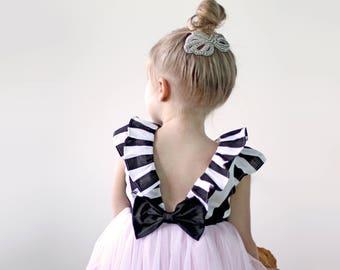 Black and White Dress, Blush Dress, Girls Dress, Black and White Wedding, Flower Girl Dress, Toddler Flower Girl, Girls Birthday Dress