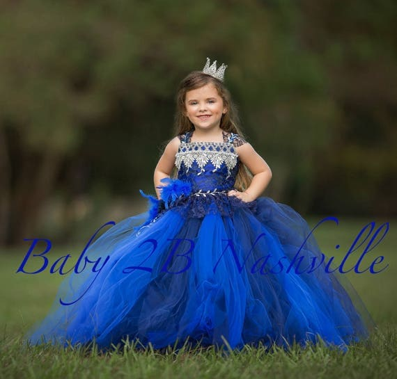 Royal Dress Flower Girl  Dress Navy Dress Lace Dress Wedding Dress Toddler Tutu Dress  Girls Dress Party Dress Portrait Dress Pageant Dress
