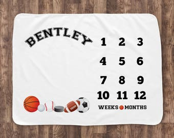 Baby Milestone Blanket- Baby Month Blanket - Classic Sports Theme- Boy- Baby Blanket - Baby Shower Gift - football, basketball, soccer
