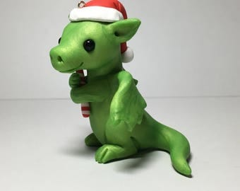 Green Dragon Christmas Ornament by Shelly Schwartz